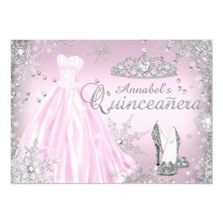 ピンクの輝きの服のティアラキンセアニェラ 12.7 X 17.8 インビテーションカード