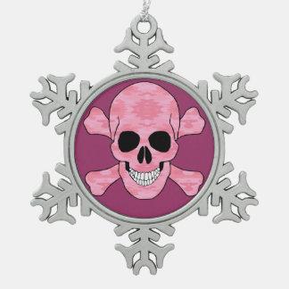 ピンクの迷彩柄のどくろ印の雪片のオーナメント スノーフレークピューターオーナメント
