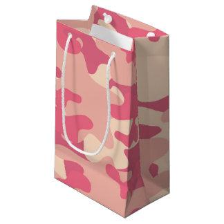ピンクの迷彩柄のデザイン スモールペーパーバッグ