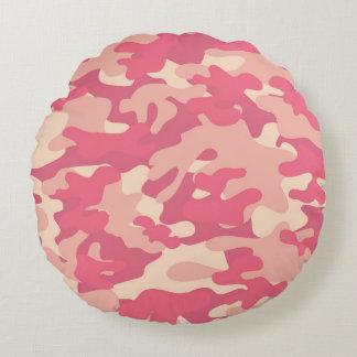 ピンクの迷彩柄のデザイン ラウンドクッション