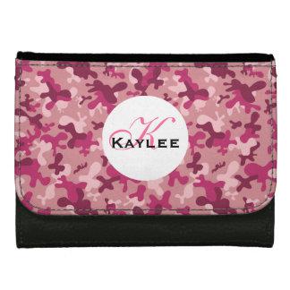 ピンクの迷彩柄のプリントのモノグラムの財布