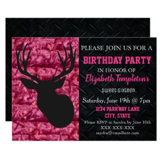 ピンクの迷彩柄の狩りのSweet sixteenの誕生日 カード