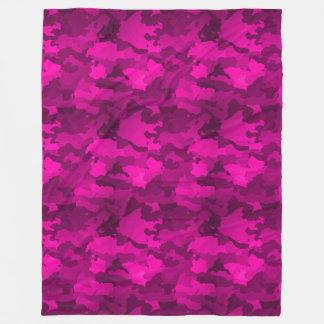 ピンクの迷彩柄 フリースブランケット