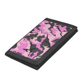 ピンクの迷彩柄、三重ナイロン財布