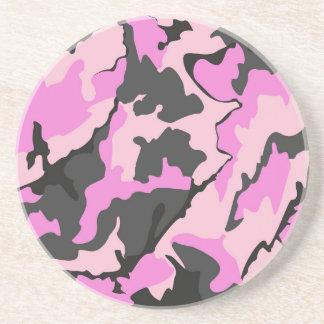 ピンクの迷彩柄、砂岩飲み物用コースター コースター