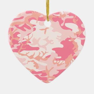 ピンクの迷彩柄 陶器製ハート型オーナメント