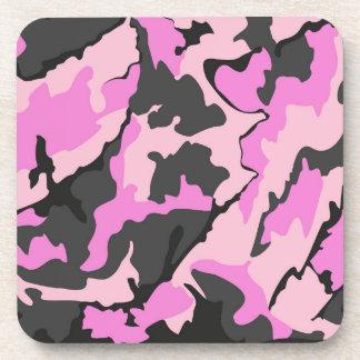 ピンクの迷彩柄、6のプラスチックコースターのコルクの背部セット コースター