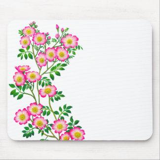ピンクの野生のバラの花柄のマウスパッド マウスパッド