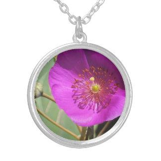 ピンクの野生の花 シルバープレートネックレス