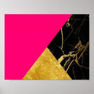 ピンクの金ゴールドおよび黒い大理石の基本的なポスター ポスター
