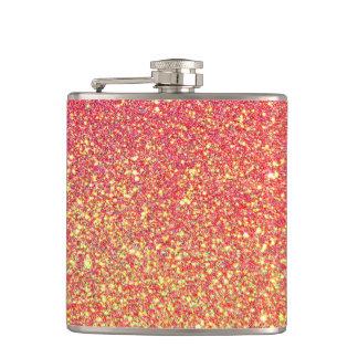 ピンクの金ゴールドのグリッターののどホイル フラスク