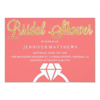 ピンクの金ゴールドのグリッターのブライダルシャワーの招待状 カード