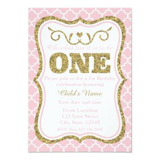 ピンクの金ゴールドのグリッターの第1誕生日の招待 カード