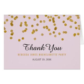 ピンクの金ゴールドのグリッターの紙吹雪のバチェロレッテは感謝していしています カード