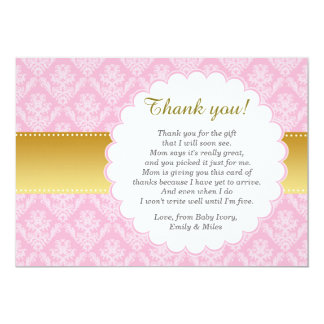 ピンクの金ゴールドのダマスク織のサンキューカードのベビーシャワー カード