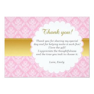 ピンクの金ゴールドのダマスク織のサンキューカード カード
