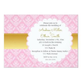 ピンクの金ゴールドのダマスク織の結婚式招待状 カード