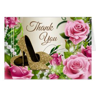 ピンクの金ゴールドのハイヒールの靴のバラのサンキューカード カード