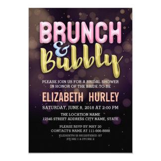 ピンクの金ゴールドのブランチ及び快活なブライダルシャワーの招待状 カード