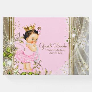 ピンクの金ゴールドのプリンセスのベビーシャワーの来客名簿 ゲストブック