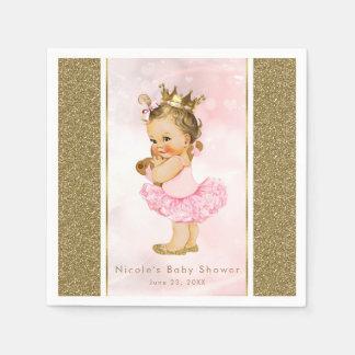 ピンクの金ゴールドのプリンセスのヴィンテージの女の赤ちゃんのブライダル・シャワー スタンダードカクテルナプキン