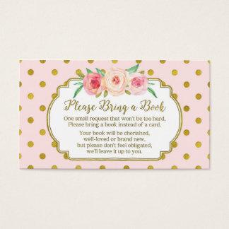 ピンクの金ゴールドの点のベビーシャワーの本の要求カード 名刺
