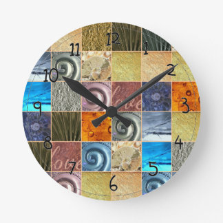 ピンクの金ゴールドの銀の青銅の金属愛モザイク ラウンド壁時計