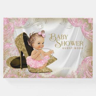 ピンクの金ゴールドの靴の女の子のベビーシャワーの来客名簿 ゲストブック