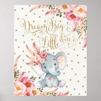 ピンクの金ゴールドのBoho象の子供部屋の壁の芸術のプリント ポスター