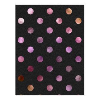 ピンクの金ゴールドレーザー光線写真金属模造のなホイルの水玉模様 ポストカード