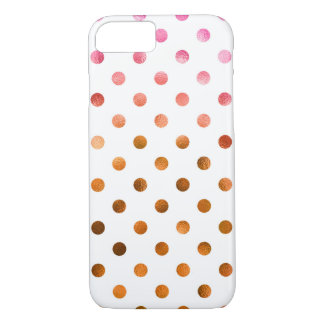 ピンクの金ゴールドレーザー光線写真金属模造のなホイルの水玉模様 iPhone 8/7ケース