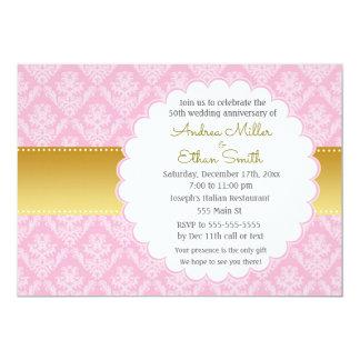 ピンクの金ゴールド第50の結婚記念日の招待状 カード