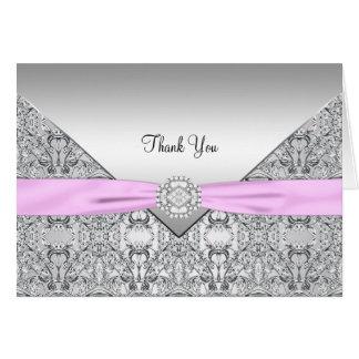 ピンクの銀製のエレガントなサンキューカード カード