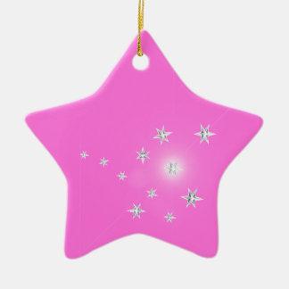 ピンクの銀製の星 セラミックオーナメント