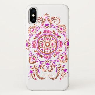 ピンクの錆の民俗花のデザインの電話箱 iPhone X ケース