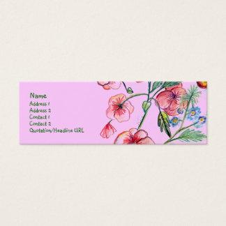 ピンクの鐘花のプロフィールカード スキニー名刺
