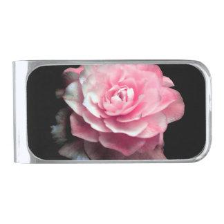 ピンクの開花 銀色 マネークリップ