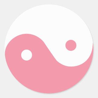 ピンクの陰陽の記号 ラウンドシール