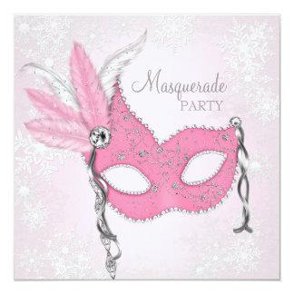ピンクの雪片の仮面舞踏会のパーティー カード