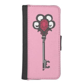 ピンクの電話財布が付いている旧式な黒の鍵 iPhoneSE/5/5sウォレットケース