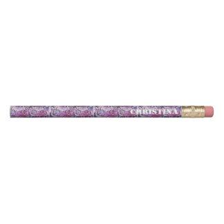 ピンクの青いトラのコラージュ 鉛筆
