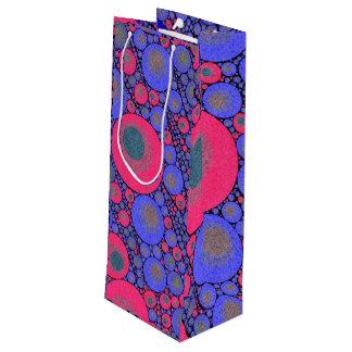 ピンクの青い円の抽象芸術 ワインギフトバッグ