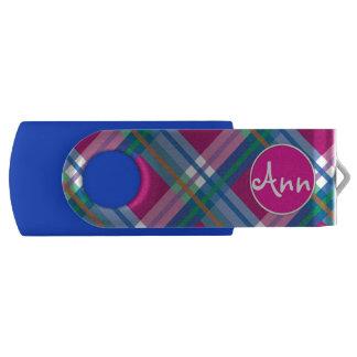 ピンクの青い格子縞、点検、タータンチェック USBフラッシュドライブ