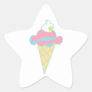 ピンクの青い渦巻の星のアイスクリームコーン 星シール