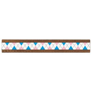 ピンクの青くアーガイル柄のなパターン 定規