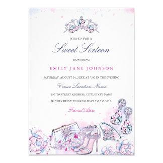 ピンクの青くエレガントな水晶Sweet sixteenの招待 カード