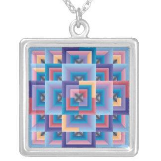 ピンクの青の抽象芸術 シルバープレートネックレス