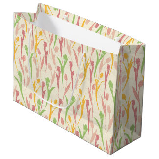ピンクの青の春の花パターンおよび黄色 ラージペーパーバッグ