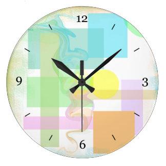 ピンクの青緑のイエロー・ゴールドのパステル調の形パターン ラージ壁時計