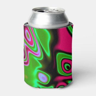 ピンクの青緑の抽象芸術 缶クーラー